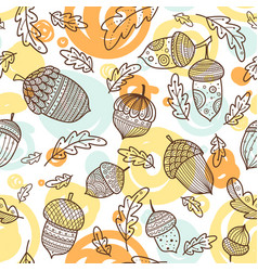 acorn seamless pattern in boho style vector image