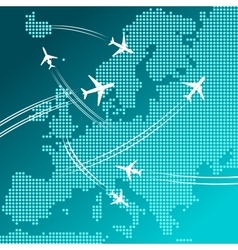 Airplanes flying over map of Europe travel design vector image
