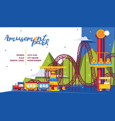 amusement park poster template flat attractions vector image
