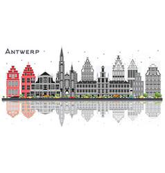 Antwerp belgium city skyline with gray buildings vector
