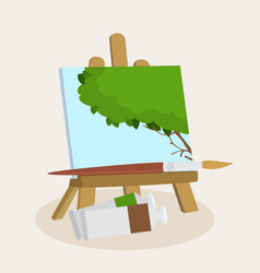 Artists easel with a displayed painting vector
