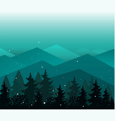 background with mountains and fir trees vector image