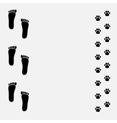 Bare foot print and paw print black frame vector
