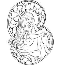 Beautiful sitting girl stained glass vector