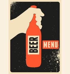 beer menu typographic vintage grunge style poster vector image