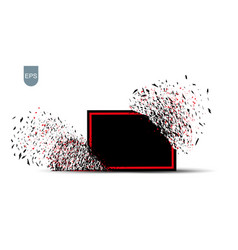 black banner with the fragments of the explosion vector image