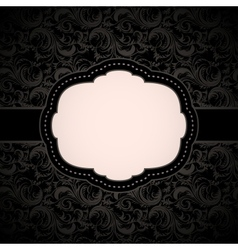 Black seamless floral pattern with vintage frame vector image
