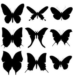 Butterfly silhouette set Icon collection vector