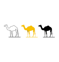 Camel style silhouette black flat white vector