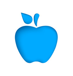 cartoon blue origami apple vector image