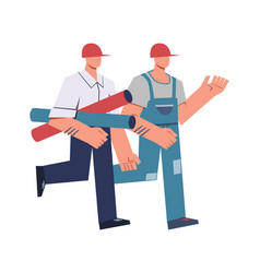 Cartoon builders and architects construction vector