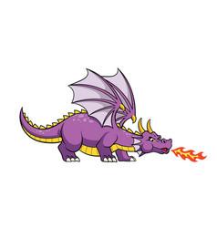 cartoon dragon fire breathing vector image