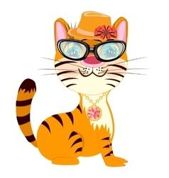 Cartoon fashionable tigress vector