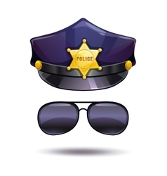 Cartoon police cap and cops sunglasses vector image