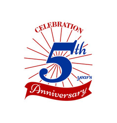 Celebrating 5 th years vector