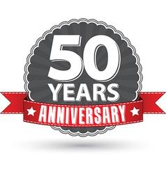 Celebrating 50 years anniversary retro label vector