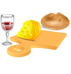 Cheese bread wine vector