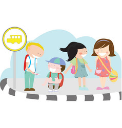 children at bus stop vector image