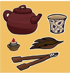 Chinese tea ceremony pattern vector image