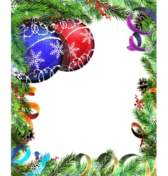 Christmas wreath with red and blue baubles vector