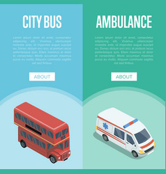 City transport logistics isometric vertical flyers vector