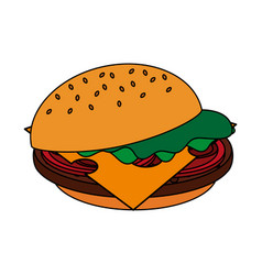 Color image cartoon hamburger fast food vector