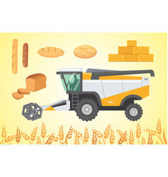 combine harvester isolated vector image
