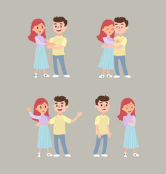 couple young people man and woman hold hands vector image