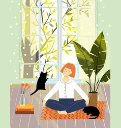 Cozy home apartment design girl relaxing with cats vector