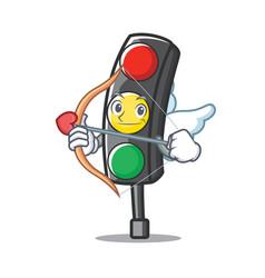 Cupid traffic light character cartoon vector