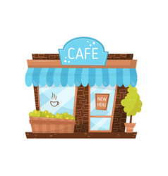 cute facade of small cafe city building with vector image