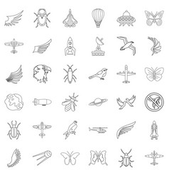 different transport icons set outline style vector image