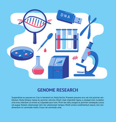 dna genome research banner template in flat style vector image