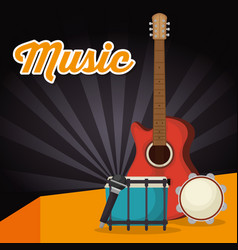Drum with guitar instruments vector