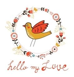 Elegant love card with bird vector
