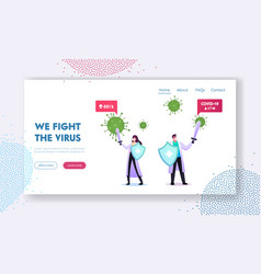 Epidemiology landing page template tiny doctors vector