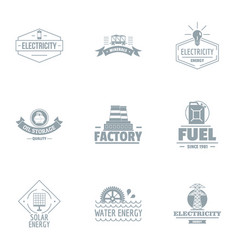 Factory logo set simple style vector