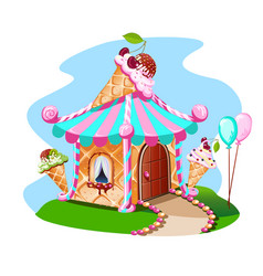 Fairy house out of ice cream with cherries vector