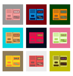 Flat assembly icons of sale booklet vector