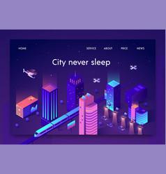 Flat banner is written city never sleep isometric vector