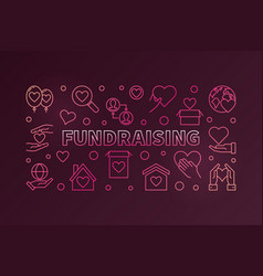fundraising colored horizontal outline vector image