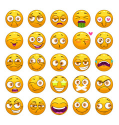 Funny cartoon yellow faces set emoji face vector