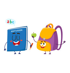 funny smiling backpack and notebook characters vector image