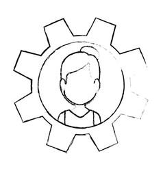gear with woman face icon vector image