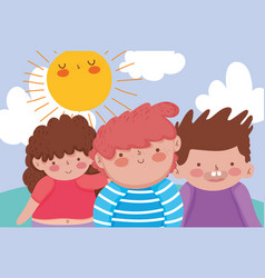 girl and boys friends enjoying with sun vector image