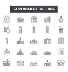 Government building line icons for web and mobile vector