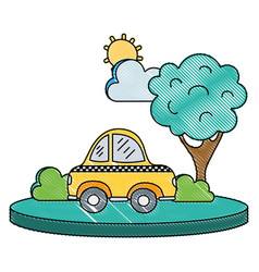 Grated taxi car service in the city with tree vector