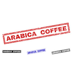 Grunge arabica coffee textured rectangle stamps vector