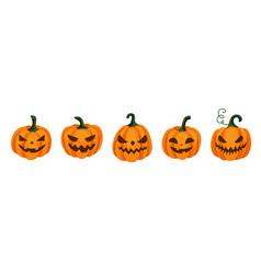 Halloween pumpkin set with scared horror vector
