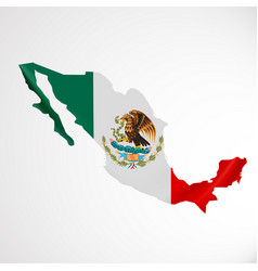 Hanging mexico flag in form map united mexican vector